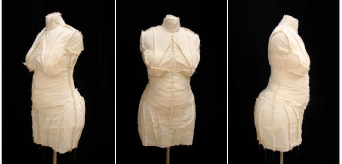 Dressmaker's Dummy - calico, kapok stuffing, polystyrene.