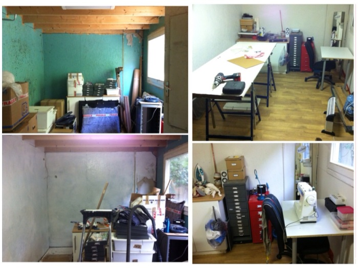 Top left: the original shed with all my boxes dumped in at the start of my move; bottom left: first coat of paint; top right: cutting table set up; bottom right: sewing table and storage drawers organised.