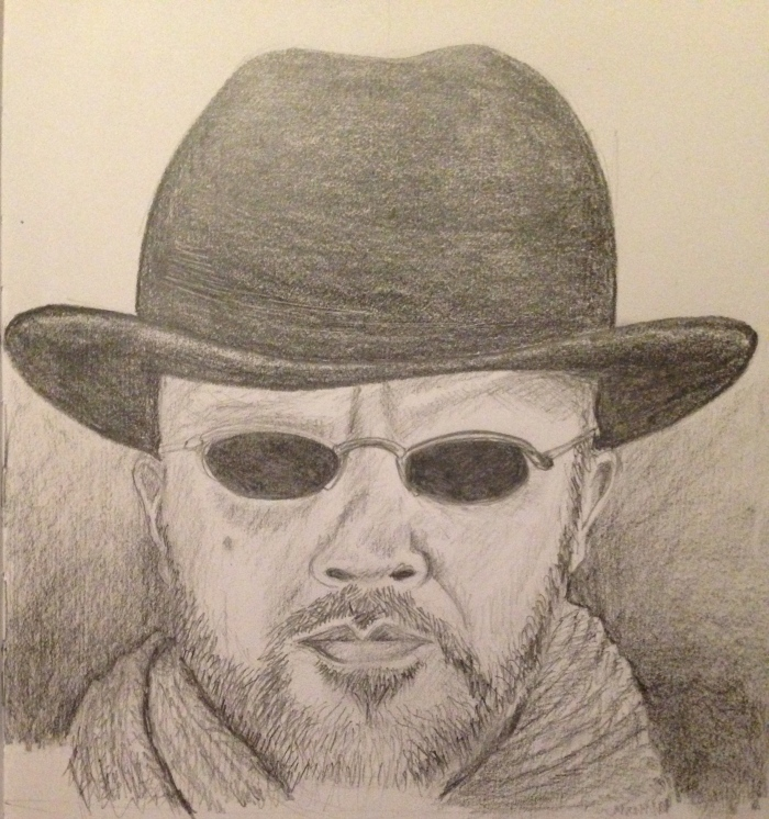 Man with hat. Pencil on cartridge paper.