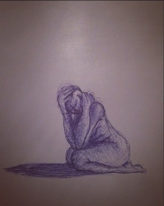 In the shadow of my own making. Blue ballpoint pen on cartridge paper. Nov 2015.